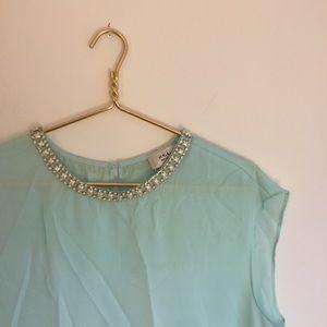 Tiffany blue jewel necklace blouse